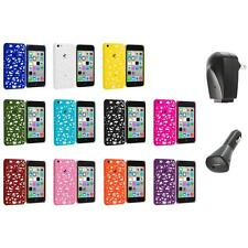 For Apple iPhone 5C Color Birds Nest Slim Hard Snap-On Case Cover+2X Chargers