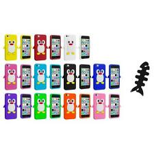 For Apple iPhone 5C Penguin Case Silicone Cute Soft Gel Skin Cover+Cable Wrap