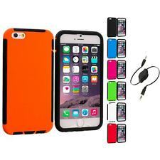 For Apple iPhone 6 (4.7) Hybrid Case Cover Screen Protector Aux Cable