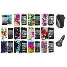 Flower Design Hard Case Cover Accessory+2X Chargers for iPod Touch 4th Gen 4G 4