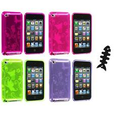 Butterfly Flower TPU Rubber Case Cover+Cable Wrap for iPod Touch 4th Gen 4G 4