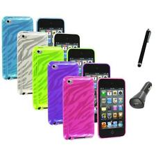 TPU Zebra Rubber Skin Case Cover+Charger+Pen for iPod Touch 4th Gen 4G 4