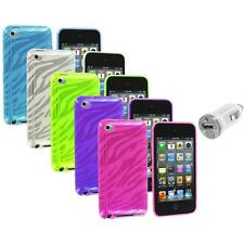TPU Zebra Rubber Skin Case Cover+USB Charger for iPod Touch 4th Gen 4G 4