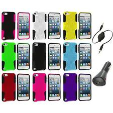 Hybrid Mesh Color Hard/Soft Case Cover+Aux+Charger for iPod Touch 5th Gen 5G 5
