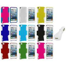 Hybrid Mesh Hard/Soft Skin Case Cover+White Charger for iPod Touch 5th Gen 5G 5