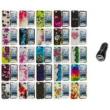 Flower Design Hard Rubberized Case Cover+2.1A Charger for iPod Touch 5th Gen 5G