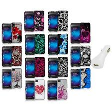 Design Hard Snap-On Rubberized Case Cover+White Charger for Blackberry Z10 Phone