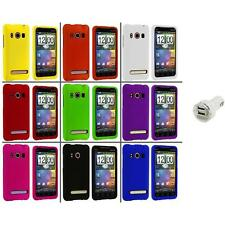 Color Hard Snap-On Rubberized Case Cover+Dual Charger for HTC Sprint EVO 4G