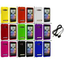 Color Hard Snap-On Rubberized Case Cover+Headphones for HTC Sprint EVO 4G