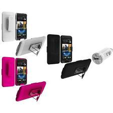 Color Hard Slide Snap-On Case Cover Holster Stand+USB Charger for HTC One M7