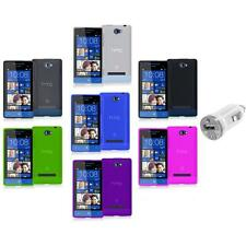 Color TPU Plain Case Cover Accessory+USB Charger for HTC Windows Phone 8S