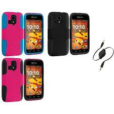For Kyocera Hydro Life Hard Silicone Mesh Hybrid Armor Case Aux Cable