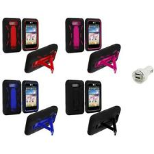 For LG Motion MS770 Hybrid Heavy Duty Hard/Soft Case Cover Stand+Dual Charger