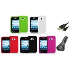 Silicone Color Soft Gel Case Cover+Charger+USB for LG Optimus Elite LS696 Phone