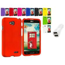 For LG Optimus L70 Hard Snap-On Color Matte Case Cover Accessory Car Charger