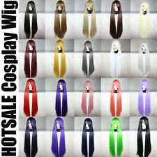 UK Long Curly Straight Full Wig Anime Cosplay Party Dress Black Grey Blonde R24