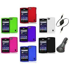Color Hard Snap-On Skin Case Cover+Aux+Charger for LG Optimus M+ Plus MS695