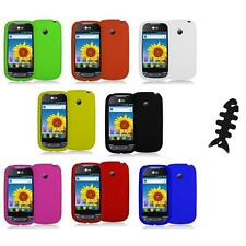 Silicone Rubber Color Gel Skin Case Cover+Cable Wrap for LG Net10 Optimus Net