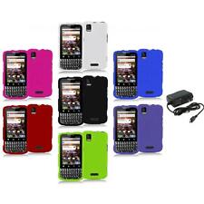 Color Hard Snap-On Rubberized Case Cover+Wall Charger for Motorola Xprt MB612