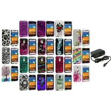 Design Hard Case Cover+Wall Charger for Samsung Epic Touch 4G Sprint Galaxy S2