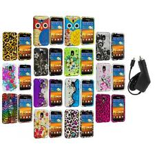 Design Hard Rubberized Case Cover+Charger for Samsung Sprint Galaxy S2 S II