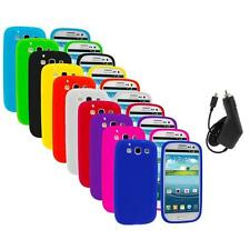 Silicone Rubber Color Case Cover+Charger for Samsung Galaxy S III S3 i9300