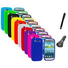 Silicone Rubber Color Case Cover+Charger+Pen for Samsung Galaxy S III S3 i9300