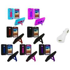 Hybrid Case Cover Stand+White Charger for Samsung Attain Galaxy S2 II i9100