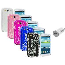 Flower Luxury Bling Hard Case Cover+USB Charger for Samsung Galaxy S3 S III