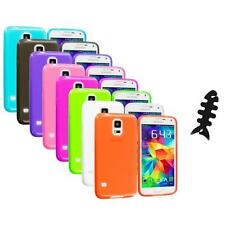 For Samsung Galaxy S5 SV TPU Transparent Color Soft Case Cover+Cable Wrap