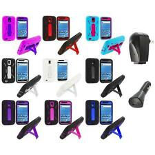 Hybrid Case Cover Stand+2X Chargers for Samsung T-Mobile Galaxy S2 S II Hercules