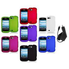 Color Hard Snap-On Rubberized Case Cover Accessory+Charger for ZTE Fury N850