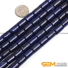 "Blue Lapis Lazuli Beads Jewelry Making Gemstone Loose Beads 15"" Column Drum Pick"