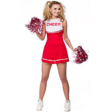RED HIGH SCHOOL CHEERLEADER COSTUME AND POM POMS ADULT CHEER LEADER UNIFORM