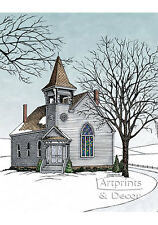 The Old Country Church by Terry Lombard (Art Print of Vintage Art)