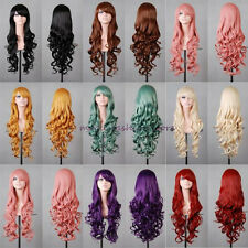 UK Long Curly Straight Full Wig Cosplay Party Fancy Dress Black Blonde Orange J8