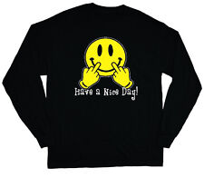 long sleeve t-shirt for men have a nice day smiley face emoji middle finger tee