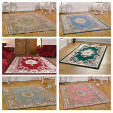 Traditional Classic Carpet Rug - Hand Carved Lotus Floral Pattern in Rich Wool