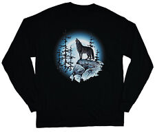 long sleeve t-shirt for men lone wolf howling at the moon nature wolves tee