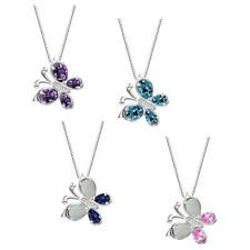 "Sterling Silver 925 Gemstone Butterly Pendant with 18"" Italian Box Chain"