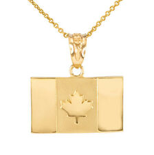 14k Solid Gold Canada Flag Charm Pendant Necklace