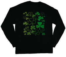 long sleeve t-shirt for men lucky green shamrocks st patrick's day paddys day