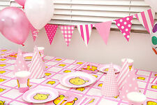 PINK BEAR TABLEWARE GIRL BIRTHDAY BABY SHOWER PARTY SUPPLIES DECOR TABLECLOTH