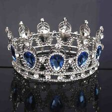 Baroque Bridal Tiara Round Crowns Crystal Wedding Rhinestone Queen Pageant Tiara