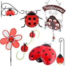LADYBIRD GARDEN DECORATION SELECTION Wall Art Basket Hanger Decorative Outdoor