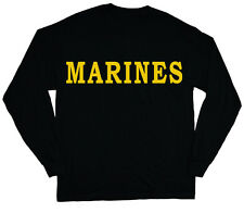 long sleeve t-shirt for men US Marines t-shirt black yellow marine corps usmc