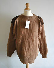 Mens BNWT Pure New Wool Tan Brown Ribbed Elbow Shoulder Patch Jumper Suede NEW