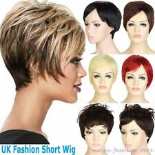 UK Ship Short Full Head Wig Cosplay Party Daily Dress Black Brown Blonde Red R67