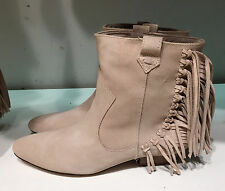 ZARA FLAT LEATHER ANKLE BOOTS WITH FRINGE ECRU 36-41 Ref.  2154/101