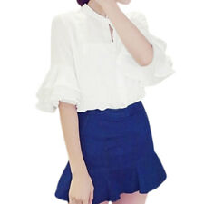 Women Stand Collar Layered Bell Sleeves Semi Sheer Blouse